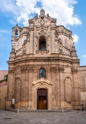 Façade of the Church of Saint Joseph, built in the 18th century in Baroque style with the local Leccese sandstone (