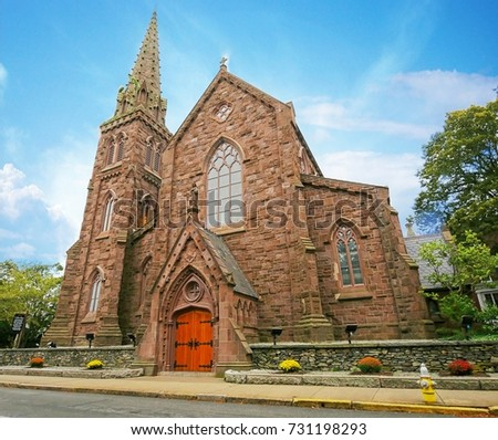 Façade of the St. Mary's Parish in Newport, Rhode Island. The oldest Parish in the Diocese of Providence, the wedding venue of the late US president John F. Kennedy and Jacqueline Lee Bouvier in1953.  Stock fotó ©