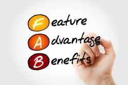 FAB - Feature Advantage Benefits acronym with marker, business concept background