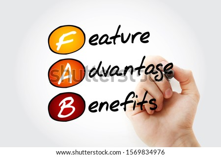 FAB - Feature Advantage Benefits acronym with marker, business concept background Сток-фото ©