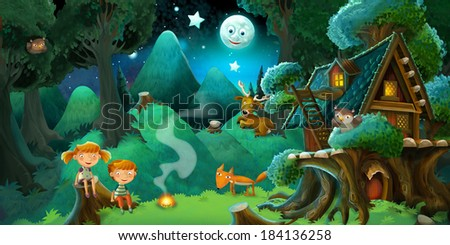 Fable stage cartoon illustration for the children