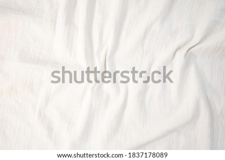 Fabric backdrop White linen canvas crumpled natural cotton fabric Natural handmade linen top view background Organic Eco textiles White Fabric linen texture  Photo stock ©
