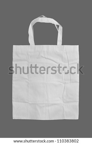 Fabric bag on gray background