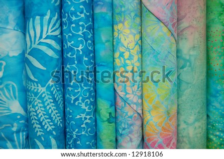 Fabric bolts - Blue batik prints