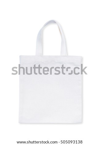 Fabric cloth shopping bag isolated on white background with clipping path: Reusable eco friendly white brown tote made of natural cotton material: Reduce reuse recycle environmental concept campaign