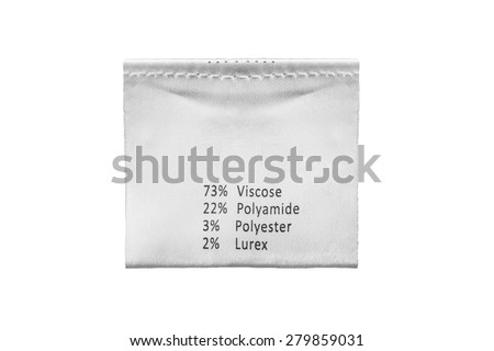 Fabric composition label isolated over white