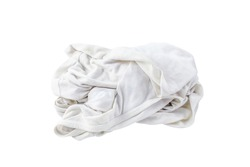fabric dirty ragged isolated on white, cleaning rag dry, dirty cloth, kitchen rag