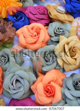 fabric flowers as accessories haberdashery in Italy