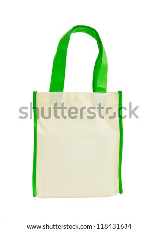 Fabric hand bag isolate on white background