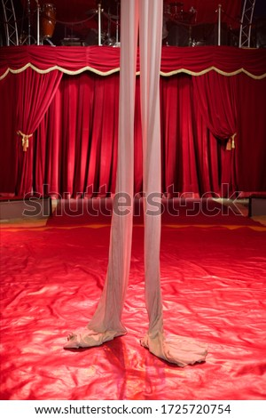 Fabric hanging from ceiling at circus