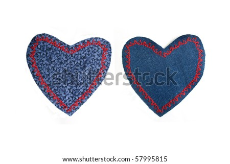 fabric heart shaped knee patches on a white background
