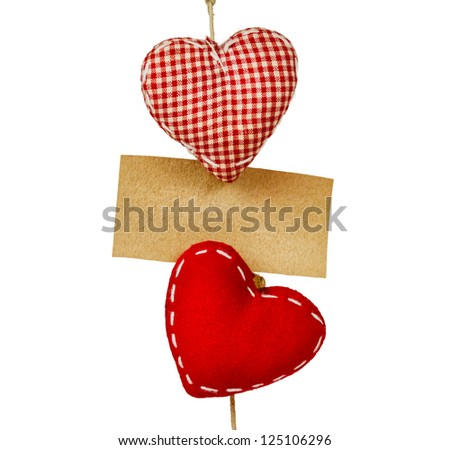 fabric hearts with empty paper on string
