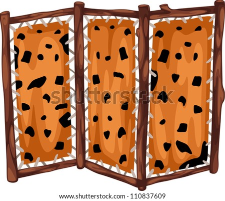 fabric partition with wooden prehistoric isolated of illustration