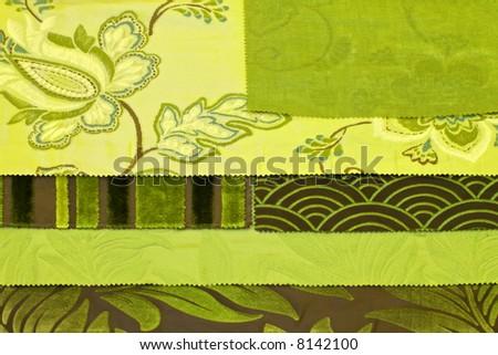 Fabric sampler palette of green floral materials