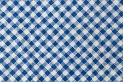 Fabric Texture, Close Up of Blue and White Lumberjack Plaid Towel or Napkin Pattern Background.