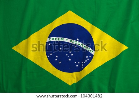 Fabric texture of the flag of Brazil