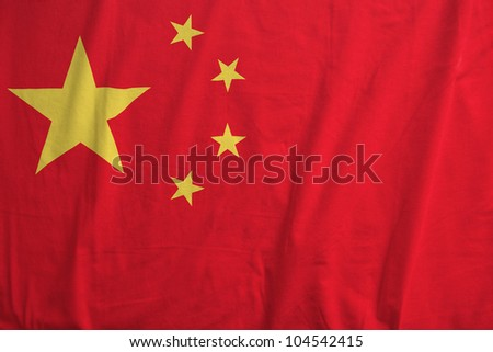 Fabric texture of the flag of China