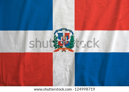 Fabric texture of the flag of Dominican Republic