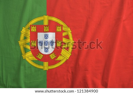 Fabric texture of the flag of Portugal