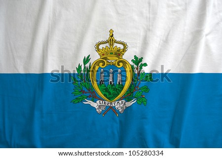 Fabric texture of the flag of San Marino