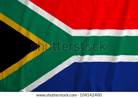 Fabric texture of the flag of South Africa - stock photo