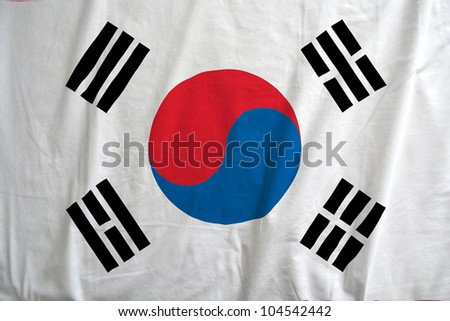 Fabric texture of the flag of South Korea