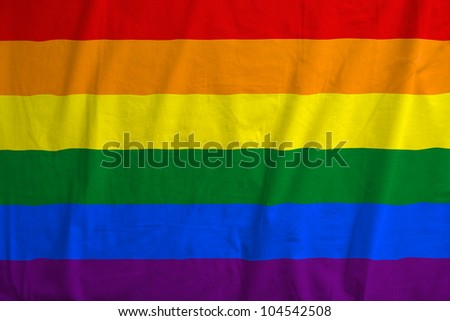 Fabric texture of the flag of the LGBT movement