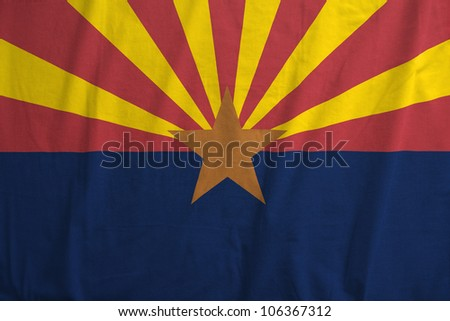 Fabric texture of the flag of the state of Arizona, USA