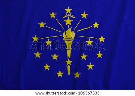 Fabric texture of the flag of the state of Indiana, USA