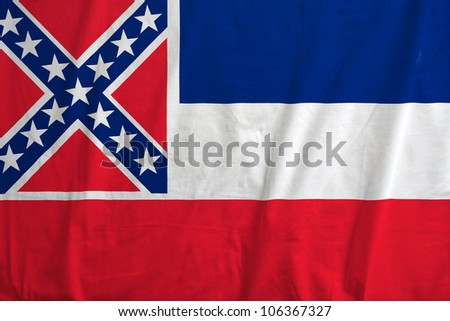 Fabric texture of the flag of the state of Mississipi, USA