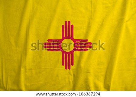 Fabric texture of the flag of the state of New Mexico, USA