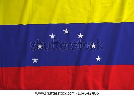 Fabric texture of the flag of Venezuela