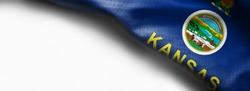 Fabric texture of the Kansas Flag background - flag on white background - right top corner - free copy space