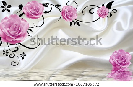 Fabric wallpaper with pink roses.