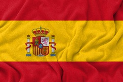 Fabric wavy texture national flag of spain.