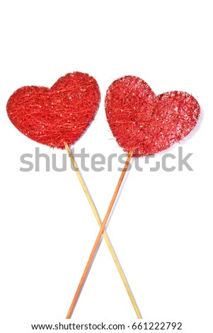 Fabric Wooden Heart Shapes on Sticks on White background #661222792