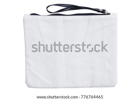 fabric wristlet zipper bag isolated on white background