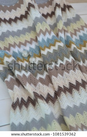 fabric zigzag Missoni top view #1081539362