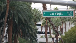 Fabulos Las Vegas, traffic sign on The Strip in sin city of USA. Iconic signboard on the road to Fremont street in Nevada desert. Symbol of casino money playing, betting and hazard in gaming area.