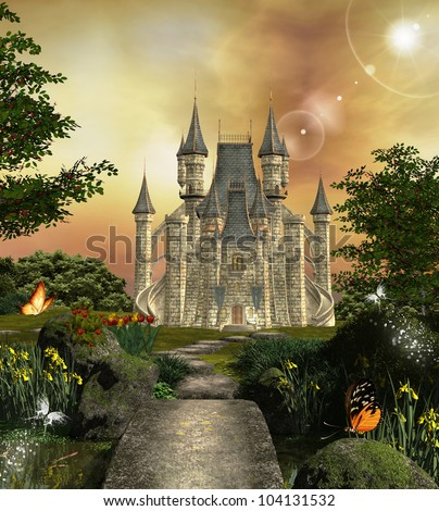 Fabulous castle in an enchanted garden - stock photo
