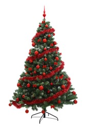 Fabulous Christmas tree with red ornaments on it