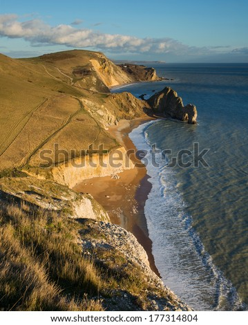 Fabulous view east from Swyre Head down to Durdle Door, Hambury Tout and Dungy Head, Dorset, UK. A popular part of Dorset\'s Jurassic coastline for visitors.
