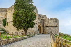 facade and entrance to the medieval castle of milazzo in sicily on the tyrrhenian sea. Italy.