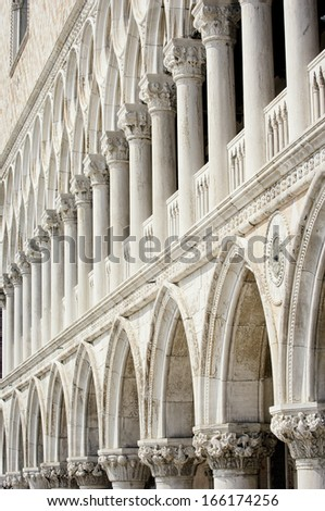 facade at the famous place of san marco at venice