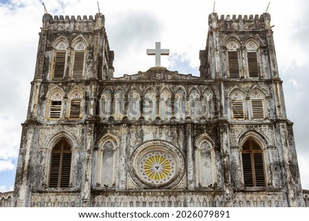 Facade Decoration Of Mang Lang Church Of Phu Yen Province, Vietnam. Mang Lang Church Is One Of The Oldest Churches In Vietnam Imbued With An Architectural Style Of The 19th Century Stock fotó ©