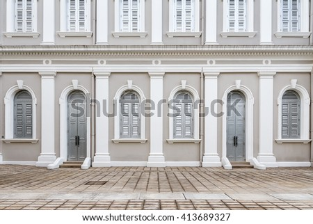 Facade designed in Neo-Palladian and Renaissance style #413689327