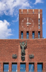Facade detail of the Oslo City Hall (Radhus), a municipal building and major landmark in Central Oslo, Norway, Scandinavia, known as a venue for the Nobel Peace Prize ceremony