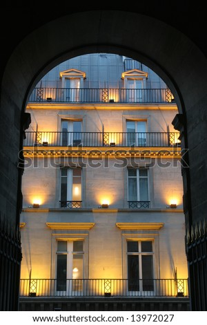 facade in paris and gate in night