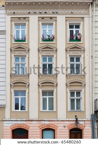 Facade of a building with windows. The building is constructed 1850-1890
