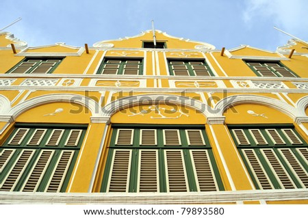 Facade of a colonial house in Willemstad, the capital of Curacao, in the Caribbean. Downtown Willemstad is a UNESCO World Heritage Site.